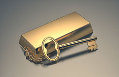 Concept of wealth. One gold bar keyring, concept of wealth 3d render Royalty Free Stock Photography