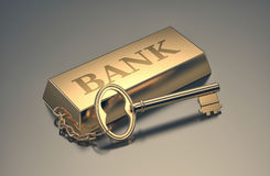 Concept of wealth. One gold bar keyring with text: bank, concept of wealth 3d render Stock Image