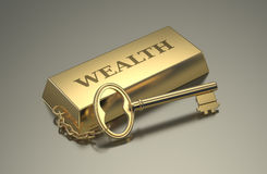 Concept of wealth. One gold bar keyring with text: wealth 3d render Royalty Free Stock Photos