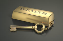 Concept of wealth. One gold bar keyring with text: wealth 3d render Stock Image