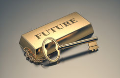 Concept of wealth. One gold bar keyring with text: future, concept of wealth 3d render Stock Image