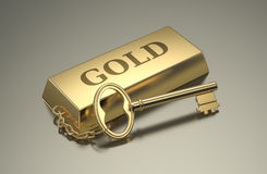 Concept of wealth. One gold bar keyring with text: gold, concept of wealth 3d render Royalty Free Stock Photos
