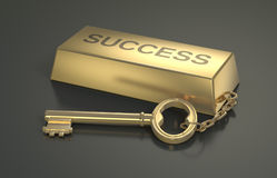 Concept of wealth. One gold bar keyring with text: success, concept of wealth 3d render Stock Images