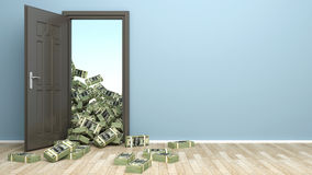 Concept of wealth. Opening door and heap dollar Royalty Free Stock Images