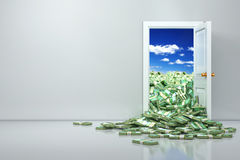 Concept of wealth. Opening euro and heap dollar. Stock Photography