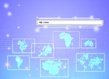 Concept of a web address linking all continents Stock Photography