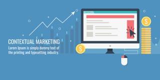 Contextual marketing, web banner advertising, digital display marketing concept. Flat design vector illustration. Stock Illustration