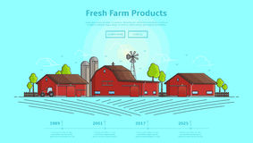 Concept of web banner with farm. Color vector illustration in linear style with farm landscape. Timeline infographic of farming. Background with line elements Stock Photo