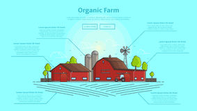 Concept of web banner with farm and infographic. Color vector illustration in linear style with farm landscape. Background with farming line elements Stock Photos