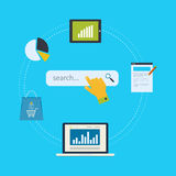 Concept of website analytics and SEO data analysis Stock Image