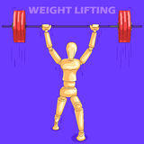 Concept of Weight Lifting sports with wooden human mannequin Royalty Free Stock Photo