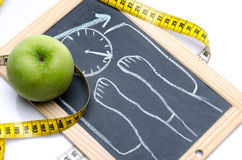 Concept of weight loss with an apple and a tape measure Royalty Free Stock Photos
