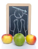 Concept of weight loss with apples Royalty Free Stock Photo
