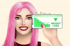 Concept weight loss. Drawn beautiful girl on colourful background. Illustration vector illustration