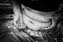 Concept weight loss,Fat women with Slim pill Stock Photography
