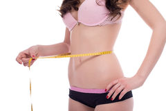 Concept of weight loss. Girl measuring her waist. Concept of diet and weight loss. Girl measuring her waist Stock Images