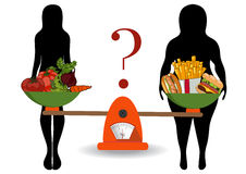 Concept of weight loss, healthy lifestyles, diet, proper nutriti. Silhouettes of women thin and thick with vegetables and fast food. The concept of weight loss Royalty Free Stock Photos