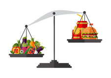 Concept of weight loss, healthy lifestyles, diet. Proper nutrition. Vegetables and fast food on scales. Vector Stock Image