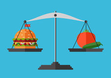 Concept of weight loss, healthy lifestyles, diet. Proper nutrition. Vegetables and fast food on scales. Vector Royalty Free Stock Image