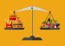 Concept of weight loss, healthy lifestyles, diet. Proper nutrition. Vegetables and fast food on scales. Vector Royalty Free Stock Photography