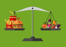 Vegetables and fast food on scales. Vector. Concept of weight loss, healthy lifestyles, diet, proper nutrition. Vegetables and fast food on scales. Vector Royalty Free Stock Photo