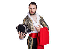 Concept Welcome to Spain. Man dressed as Spanish bull fighter. Isolated on a white background Royalty Free Stock Images