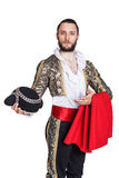 Concept Welcome to Spain. Man dressed as Spanish bull fighter. Isolated on a white background Stock Photos