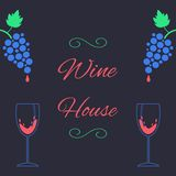 Concept of wine house with bunch of grapes and royalty free illustration