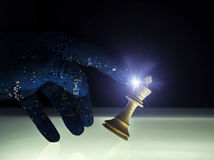 Concept Wining supérieur d'échecs d'intelligence artificielle photo stock