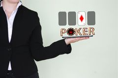 Concept of winning a poker card. Royalty Free Stock Images