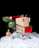 Concept of winter sale. Shopping cart with paper bags and decora Stock Images