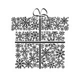 Concept winter sales. Gift boxes made from snowflakes. Stock Photos
