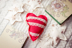 Concept of winter time with heart shaped pin Royalty Free Stock Photography