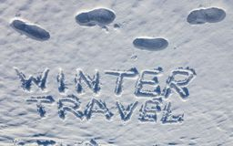 Concept of winter travel. Handwriting words and Stock Photography