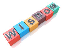 Concept of wisdom word on colorful cubes Stock Photo