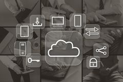 Concept wolk gegevensverwerking royalty-vrije stock afbeeldingen