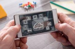 Concept wolk gegevensverwerking stock fotografie