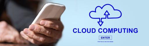 Concept wolk gegevensverwerking stock afbeelding
