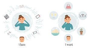 The concept of a woman accountant routine and desires:a very busy kind beautiful smiling female accountant with many thoughts. About work and about wishes royalty free illustration