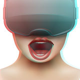 Concept of woman emotion with stereoscopic 3d VR headset Stock Images