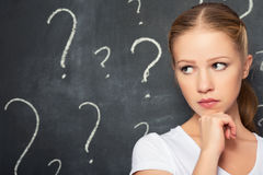 Concept of woman and question mark drawn in chalk on blackboard stock photography