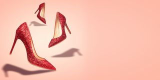 Concept women shoes with copy space on red background.  vector illustration