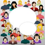 The concept of womens community or forum. Social media concept art. Womanhood communicating around the globe with a lot of connec Royalty Free Stock Image