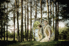 Concept wonderful fairy tale with beautiful girl Royalty Free Stock Photography
