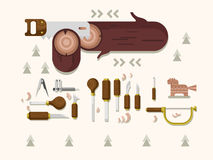 Concept woodcarving tools Royalty Free Stock Images