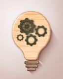 Concept wooden bulb lamp Stock Photos