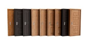 Concept wooden exterior entrance door 3d rendering on white back royalty free illustration