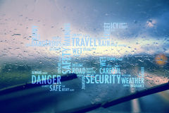 Concept word cloud dangerous rainy road background. Conceptual word cloud dangerous driving car in the rainy and slippery road. Rain through windshield of moving Stock Images