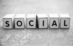 Concept word forming with cube - Social Royalty Free Stock Image