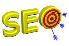 Concept: word SEO with target for arrows. 3D rendering. Concept: word SEO with target for arrows,  on white background. 3D rendering Stock Images